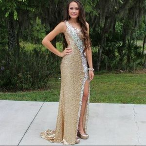 Gold backless Formal Gown/Prom Dress